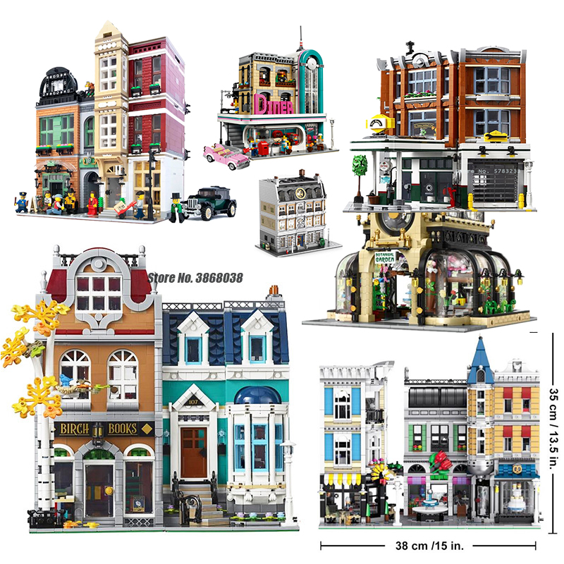 MOC Creator Expert City Street View 2524PCS European Style Bookshop Model Building Blocks Bricks Kit Compatible Lepines 10270