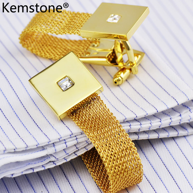 Kemstone Luxury Gold Color Chain Cufflinks With Crystal Men's Cuff - Fashion Jewelry - Photo 3