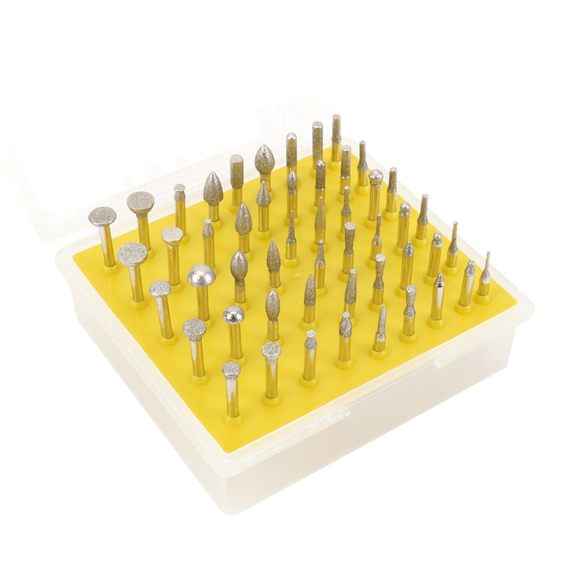 50Pcs Diamond Coated Grinding Grinder Head Rotary Diamond Burrs For Metalworking Stone Ceramic Glass Carbide Carving Tool