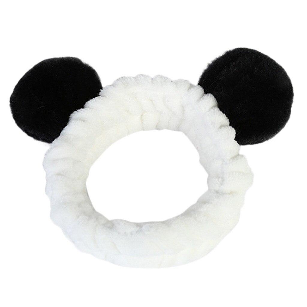 Women Ladies Fluffy Elastic Hairband Band Panda Ear Cute Head Lovely Hair Band Shower MakeUp Cute   Headwear   MeHAHA Store