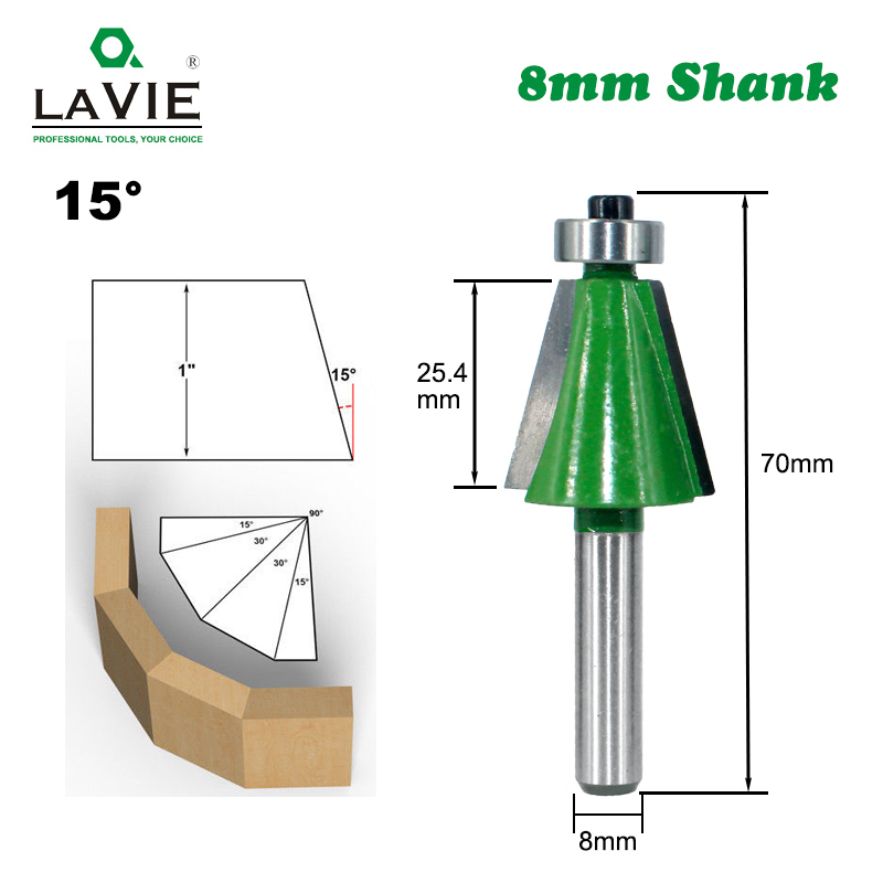 LAVIE 1pc 8mm Shank Chamfer Router Bit 15 Degree Bevel Edging Milling Cutter For Wood Woodorking Machine Tools MC02110-15