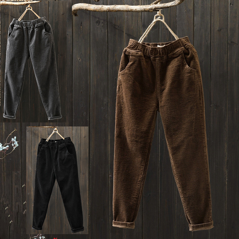 Spring And Autumn New Style Korean-style Loose Harem Pants Casual Versatile Skinny Pants Trousers Corduroy WOMEN'S Pants Fashion