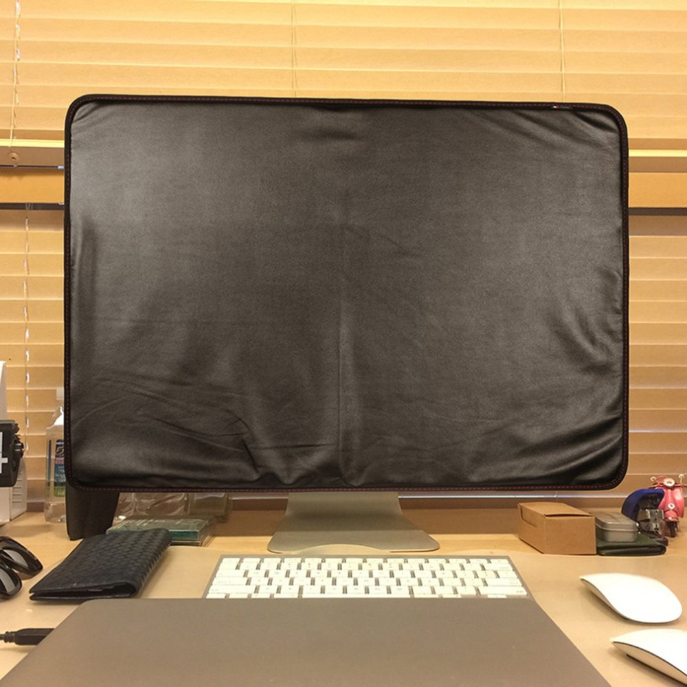 27 Inches Black Polyester Computer Monitor Dust Cover Protector With Inner Soft Lining For IMac LCD Screen