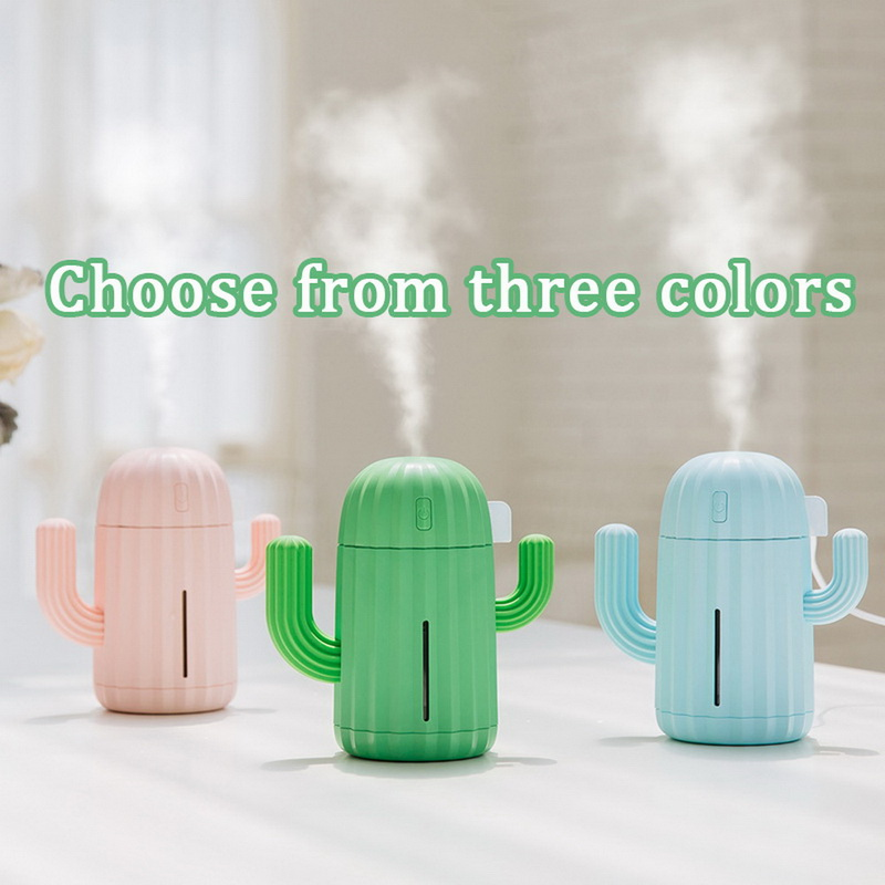340ml Air Humidifier Cactus Timing Aromatherapy Diffuser Mist Maker Fogger Mini  Diffuser With Night Light For Home USB