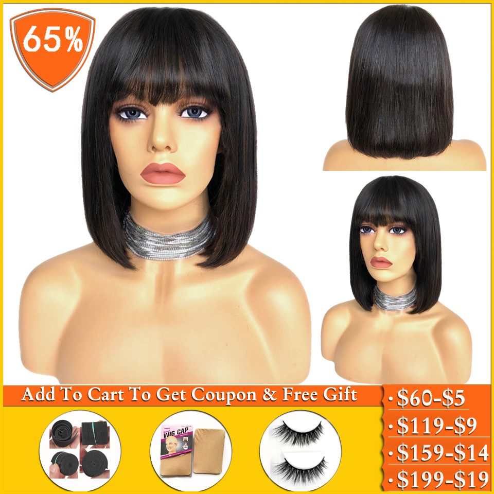 Lanqi Peruvian Straight Wigs With Bangs Long Wig And Short Human Hair Wigs For Women Pixie Cut Bob Wig Machine Made Non-Remy