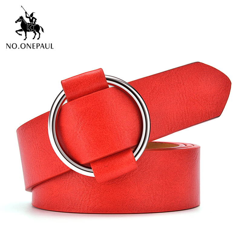 NO.ONEPAUL Genuine Leather Luxury Round Buckle Belts Female Leisure Jeans Wild Leather Belt Retro Fashion Casual Ladies Belts