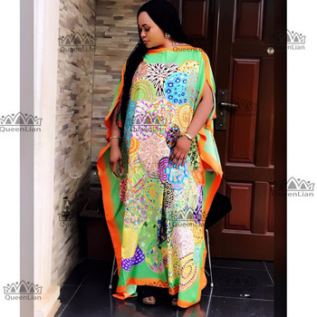 2 Colors Fashion 100% silk Traditional Print  African Dress  Length 130cm  Width :130cm Long Dress For Lady - Green, One Size
