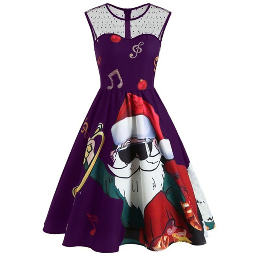 Santa Dresses Women Christmas Claus Print Sleeveless Cold Shoulder Lace O-Neck vintage dress Plus Size robe femme dress women