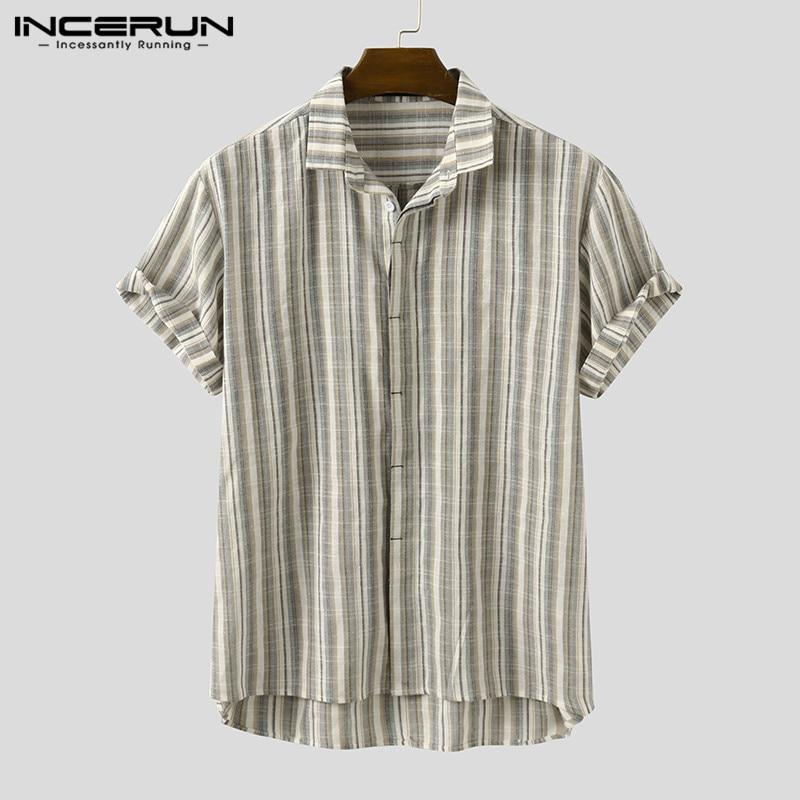 Vintage Striped Men Shirt Lapel 2020 Breathable Chic Streetwear Short Sleeve Casual Blouse Harajuku Camisa Masculina INCERUN 5XL