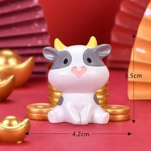 7Pcs Cute Mini Cow Ingot Model Figurine Ornament Fortune Luck Home Desktop Decor Collectible Статуэтка Корова