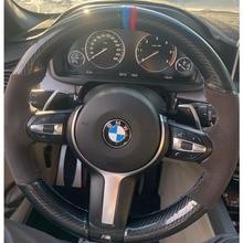 Housse en Fiber de carbone 5D et daim noir pour volant, housse de couture à la main pour BMW F87 M2 F80 M3 F82 M4 M5 F12 F13 M6 F85 X5