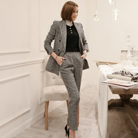 2019 Runway Women Suit 2 Pieces Set Autumn Elegant Fashion Double breasted OL Notched Bussines Office Lady Blazer Pants Suits