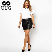 UUG Short Leather Skirts Women Plus Size PU Leather Bodycon Skirt for Ladies Large Mini Black Red High Waist OL Slim Skirts 5XL(China)