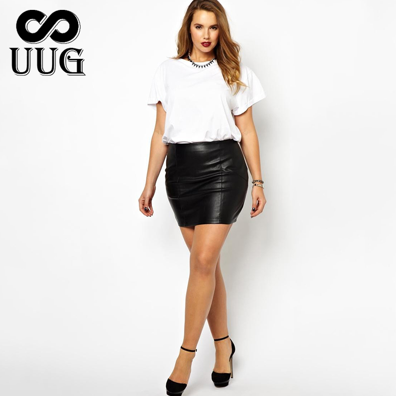 UUG Short Leather Skirts Women Plus Size PU Leather Bodycon Skirt for Ladies Large Mini Black Red High Waist OL Slim Skirts 5XL image