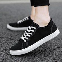 Fashion Canvas Shoes Men Sneakers Low Top Black Shoes Men's Casual Shoes Brand Flat Lace-Up flower embroidery lace up low top sneakers