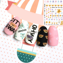 Nail-Art-Stickers Decals Adhesive Unicorn Teddy-Design Butterfly Bear Monstera 1-Sheet