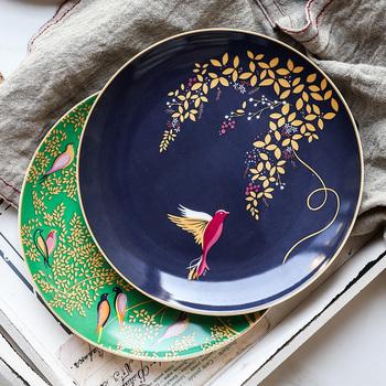 Kość porcelanowa płytki talerz 8 #8222 kolor kwiat i wzór z ptakami ceramiczne okrągłe płytki talerz zestaw talerzy tanie i dobre opinie ROUND Floral