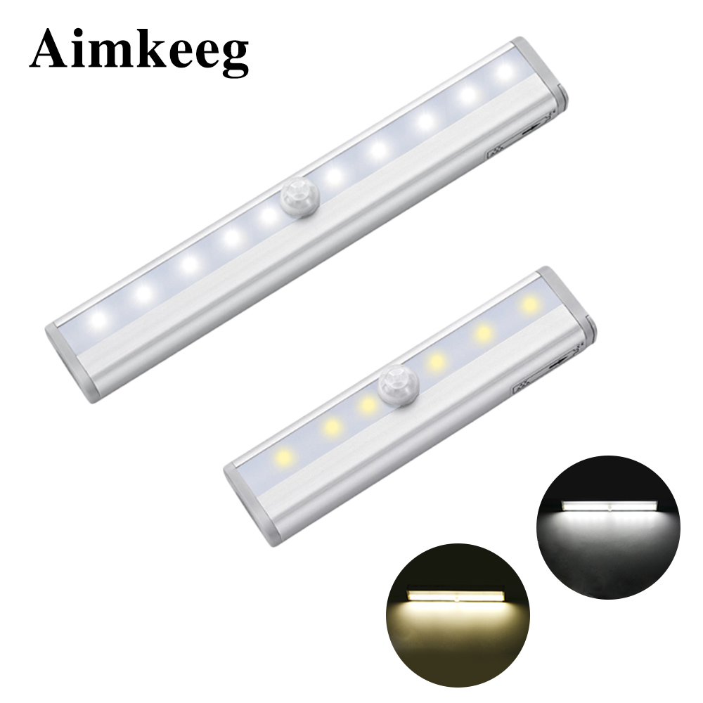 Aimkeeg 6/10 LEDs Under Cabinet Light PIR Motion Sensor Lamp Led Lights Battery Powered Potable Wireless Cabinet Night Lamp