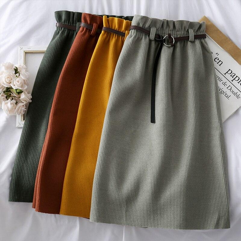 Mooirue, женские вязаные юбки с высокой талией, с поясом, осень 2019, винтажные трапециевидные уличные юбки в стиле Харадзюку, базовые юбки в Корейском стиле