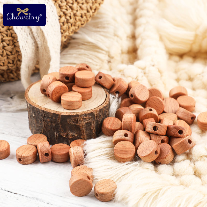 25pc Beech Wooden Beads Baby Wooden Teether Rodent Disc Beads DIY Nursing Necklace Bracelet Pacifier Chain For Children Product