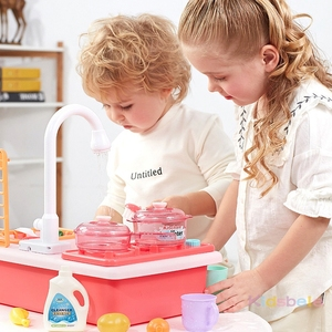 Kids Kitchen Toys Simulation Electric Dishwasher Educational Toys Mini Kitchen Food Pretend Play Cutting Role Playing Girls Toys