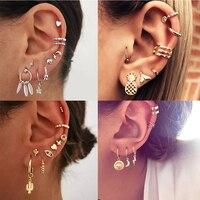 Nouveau Boho mode or cristal géométrique étoile lune plume artificielle perle pendentif boucles d'oreilles pour les femmes Vintage boucle d'oreille bijoux