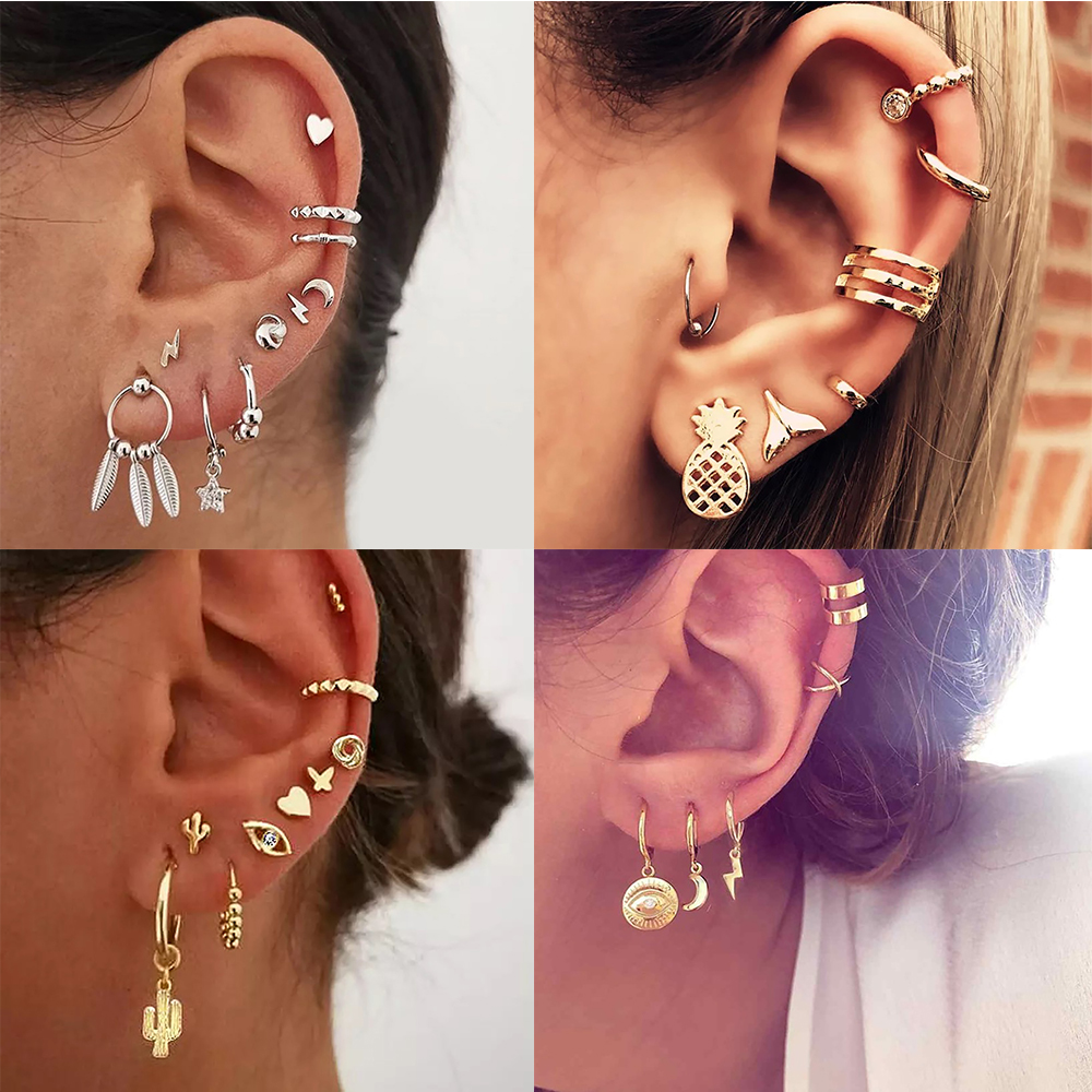 New Boho Fashion Gold Crystal Geometric Star Moon Feather Artificial Pearl Pendant Earrings For Women Vintage Earring Jewelry