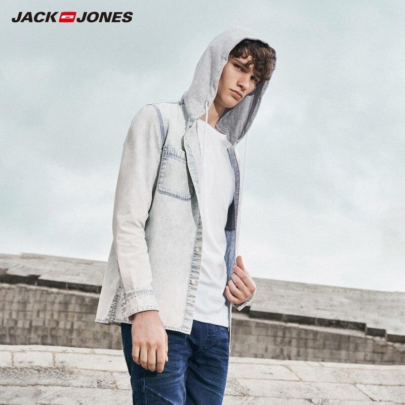 JackJones Men's Letter Print Hooded Denim Shirt Style 219105503