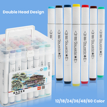 12/18/24/36/48/60 Color Markers Set Manga Drawing Markers Pen Alcohol Based Sketch Felt-Tip Twin Brush Pen Art Supplies