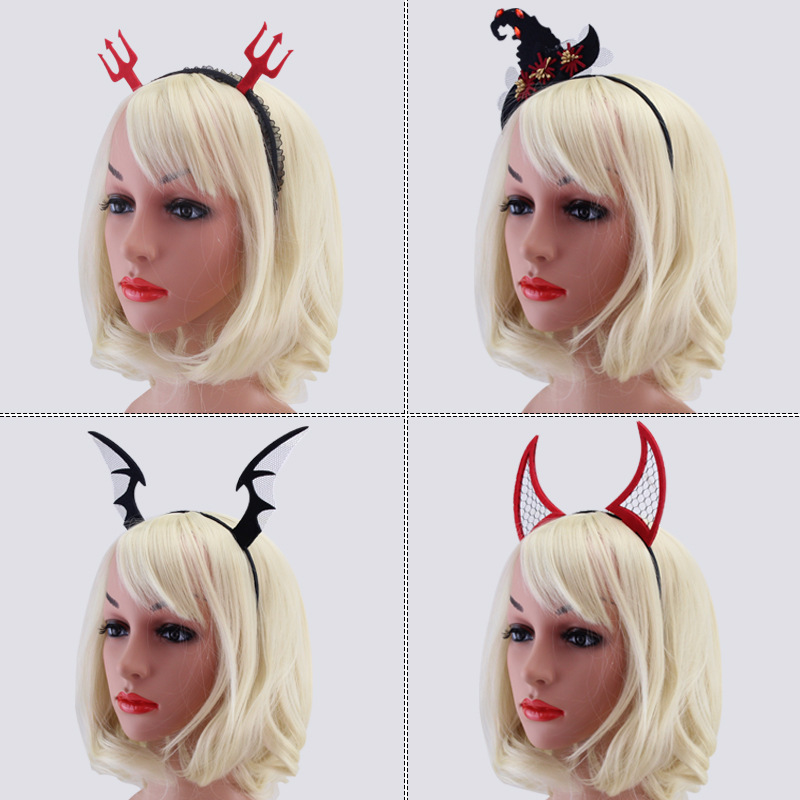 Halloween Devil Headdress Female Mysterious Carnival Festival Show Decoration Bat Horn Hair Band Perform Temperament Accessories