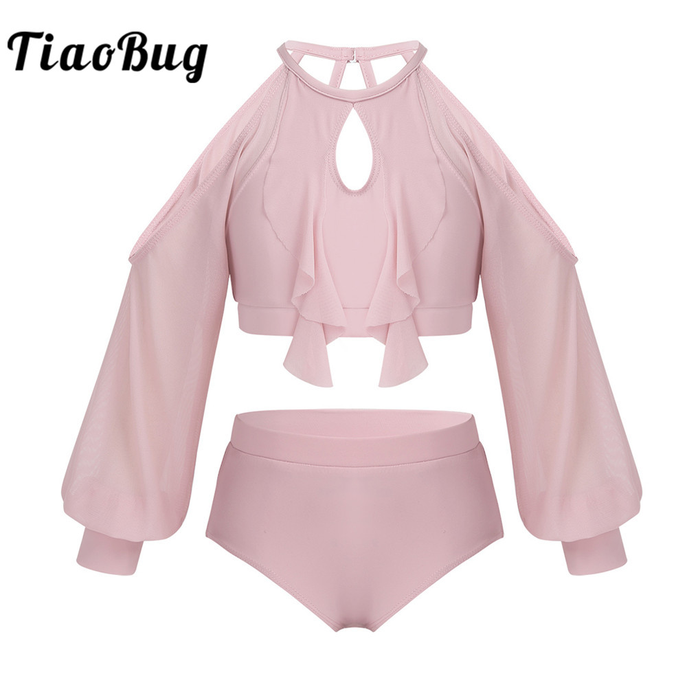 <font><b>TiaoBug</b></font> Kids Two-Piece Dancewear Long Sleeve Crop Top with Briefs Set Girls Ballet Gymnastics Outfit Stage Performance Costume image