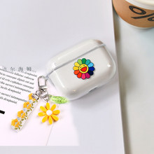 For AirPods Pro Case sunflower Keychain Earphone case luxury Korean flora Transparent silicon keyring headphone Cover Air Pods 3(China)