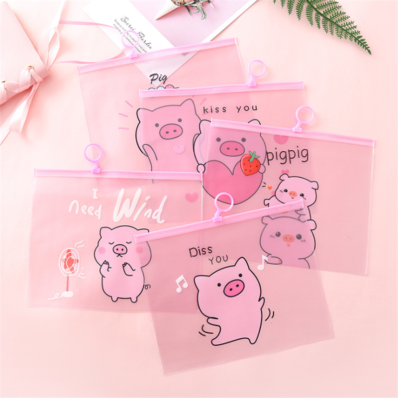 Vogvigo Cartoon Pig Travel Women Clear Transparent Cosmetic Bag  PVC Necessary Makeup Bag Case Bath Wash Organizer Set