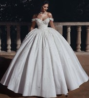 Newest Arabic Ball Gown Wedding Dresses Beaded Crystals 3D Flowers Bridal Dress Off Shoulder Wedding Gown Vestidos De Noiva
