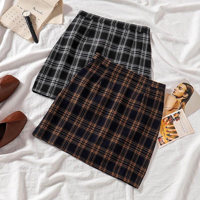 Summer Plaid Skirt Female Spring  A-line Preppy Short Cotton Skirt High Waist Tartan Mini Skirts Skorts Yellow Black Check