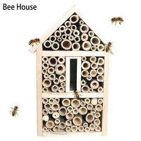 Bee House Bamboo Insect Bee Hive Room Hand made Crafted Pine Nests Box Garden Decoration On A Post, Tree, Fence, Or Wall