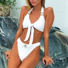 2020 ריינסטון בגד ים נשים גבוהה מותן ביקיני גביש יהלום ביקיני סט מתכת בגדי ים נשי יוקרה שחייה חליפה לבן