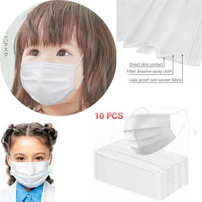 10PCS Children Face Masks 3 Layer Elastic Mouth Mask Anti-Flu Kids Disposable Mask Soft Breathable PM2.5 Nonwoven White Blue Hot 1
