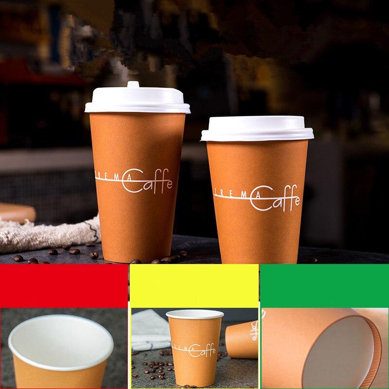 50pcs haute qualité 14oz 400ml 16oz 500ml tasses jetables soja lait thé café papier tasse à emporter emballage tasses avec couvercle noir