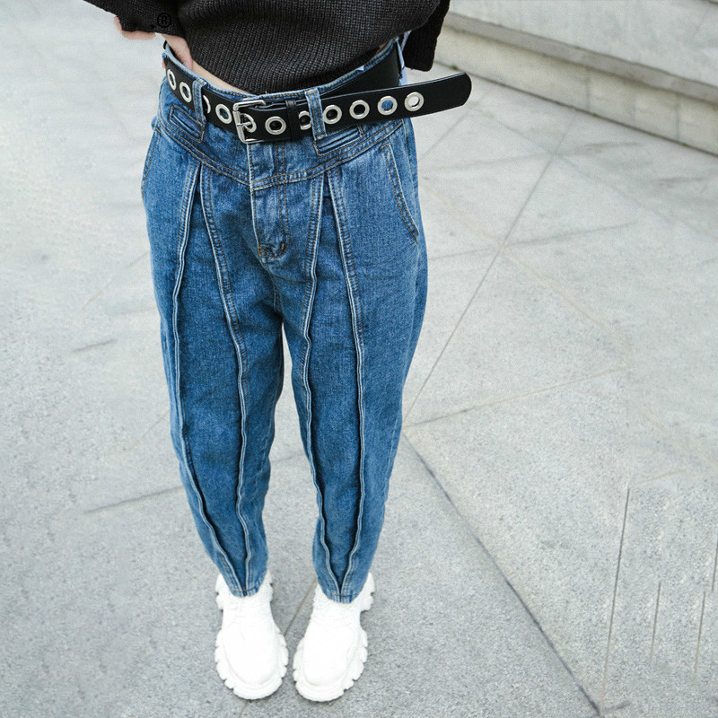Blue Long Split With Fleece Wide Leg Jeans New High Waist Loose Women Trousers Fashion Tide Spring Autumn 2020 V334