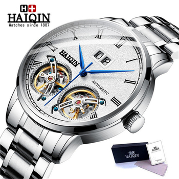 HAIQIN Mens Watches Top Brand Men Mechanical Watch Automatic Fashion Luxury Stainless Steel Male Clock Relogio Masculino 2019 man automatic mechanical watches burei fashion brand male luxury clock calendar sapphire steel band 50m waterproof watch mens