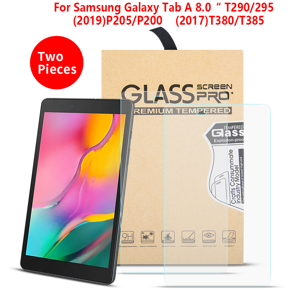 For Samsung Galaxy TAB A 8.0 SM-P200 P205 2019 T290 T295 T380 T385 Tempered Guard Screen Protector Tempered Glass 2PCS
