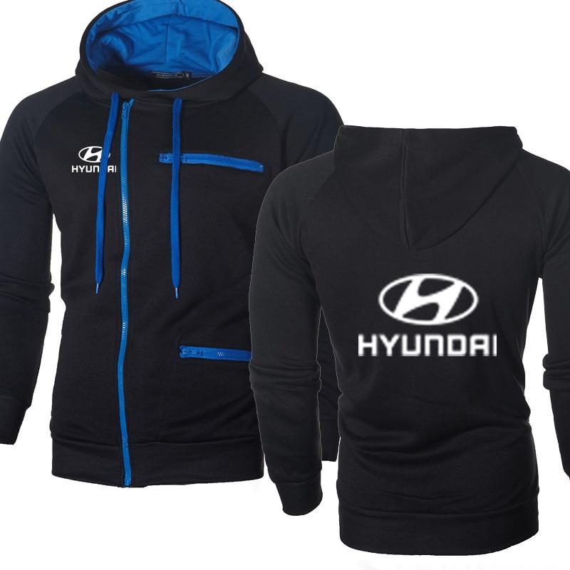 Men Hoodies Hyundai Car Logo Print Casual HipHop Harajuku Long Sleeve Fleece Warm Hooded Sweatshirts Mens Zipper Jacket