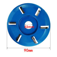 Plane Tea Tray Milling Cutter Wood Carving Disc For 22mm Aperture 6 Teeth 90x22mm Hand Power Tool Accessories Blue