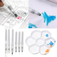 6 шт. разнообразные наконечники, художественная окрашивающая щетка для воды, набор ручек с 1 палитрой для детей, детская Акварельная живопись, каллиграфия, рисунок