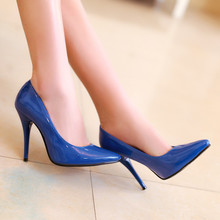 Women High Heels Shoes Pointed Toe Patent Leather Stiletto Heel Pumps Fashion Sexy Work Office Ladies Shoes Blue Yellow Pink 2016 new fashion high heels 6cm patent leather pointed toe women pumps party wedding work sexy ladies stiletto shoes 706