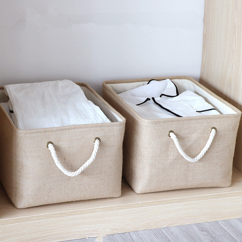 Home organization storage Thickened lined laundry basket for sundries Coarse cotton rope hand basket clothing storage basket