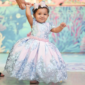 Image 4 - Good Quality Girl Evening Princess Dress Lace Embroidery Kids Girls Dresses For Birthday Perform Wedding Party Baby Girl Clothes