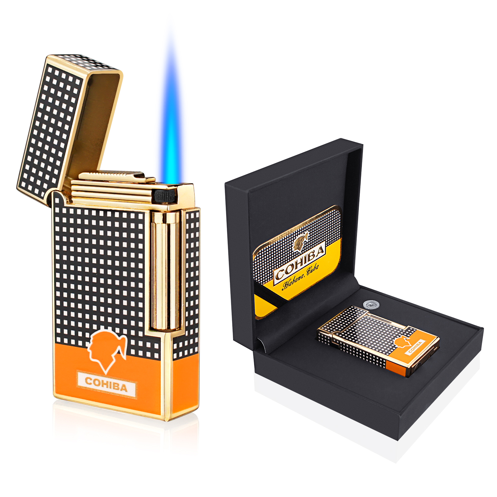 COHIBA Cigar Lighter 1 Torch Jet Flame Portable Lighter Bottom with Cigar Punch Smoking Tool Cigar Accessories Gift Box
