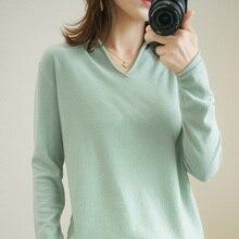 Sweater Wanita Kasual Peregangan Palsu Hood Leher V Kerah Modis Stylish Merajut Pullover Musim Semi Musim Gugur Atasan